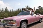 Ретро автомобиль Cadillac Fleetwood cabrio розовый код 194