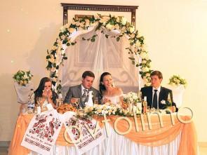 Свадебная арка на прокат персиковая