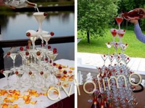 Пирамида фонтан из шампанского на свадьбу