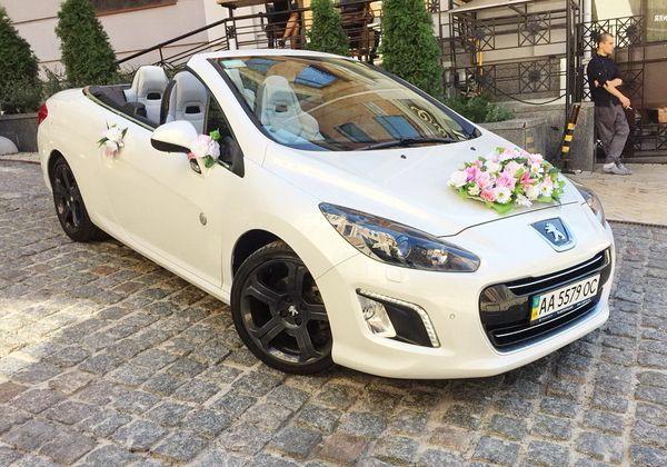 Кабриолет Peugeot 308CC белый на свадьбу в киеве
