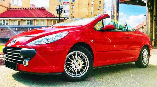 Кабриолет Peugout 307cc красный на свадьбу съемки