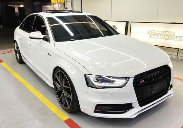 Audi S4 белая аренда машин на прокат киев